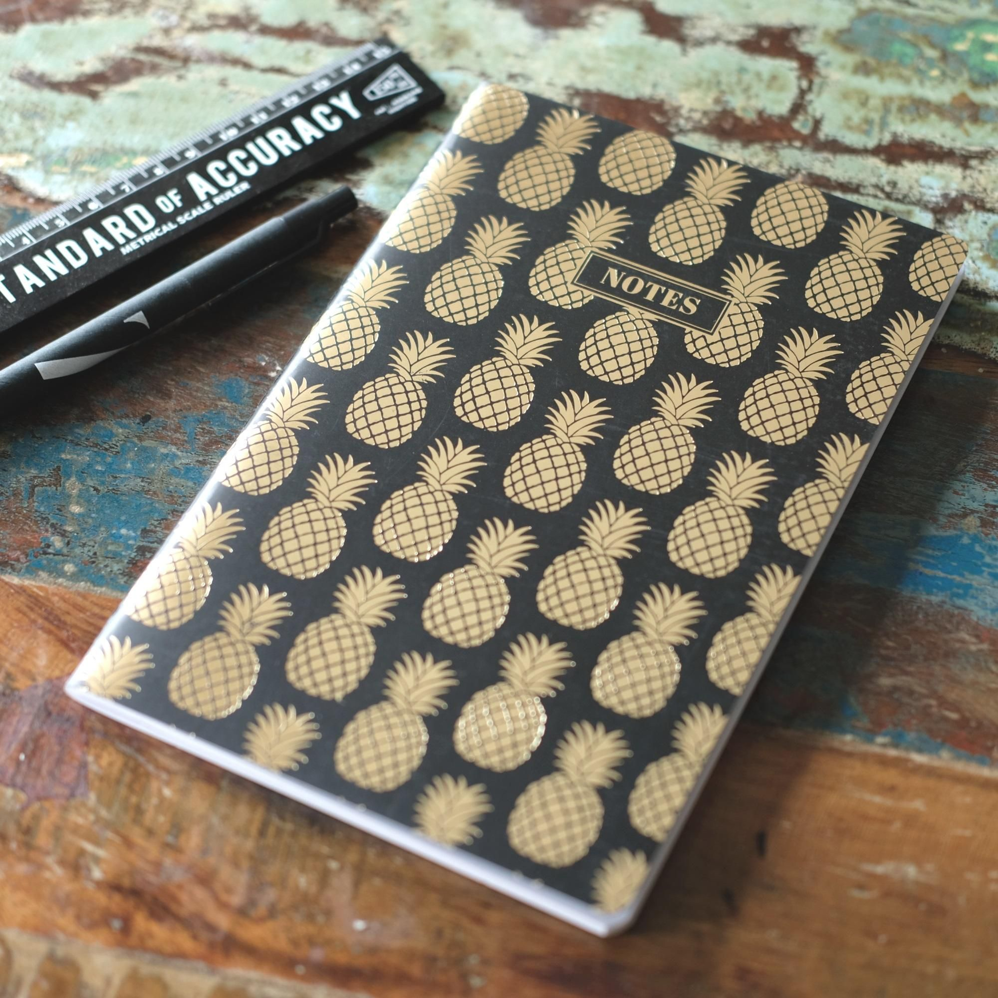 Gold pineapple notebook at albert u moo design project monochrome