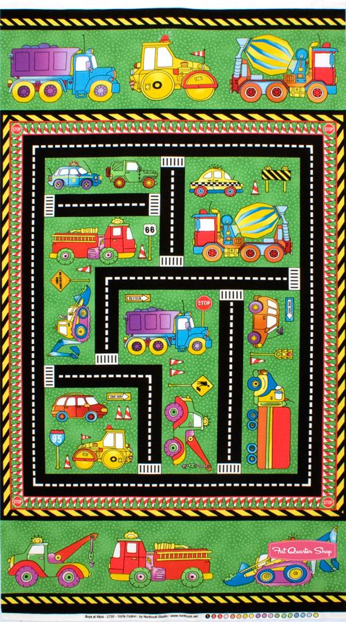 Fabric Roads For Toy Cars : Construction zone road quilt panel for toy cars