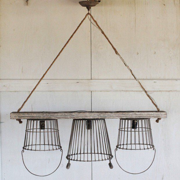 Wood And Wire Basket Chandelier