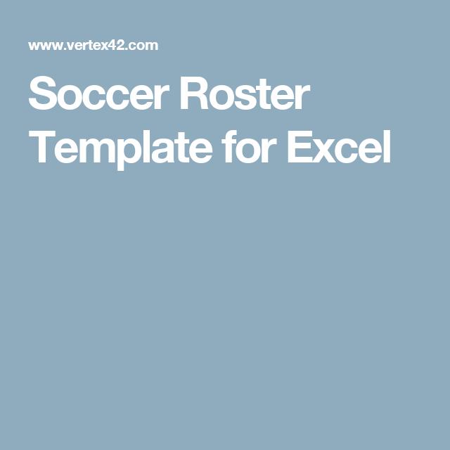 soccer roster template for excel soccer pinterest