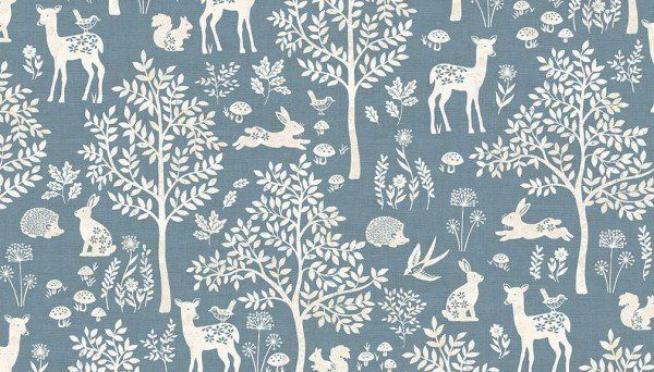 Fat Quarter Enchanted Forest In Navy Cotton Quilting Fabric Dashwood