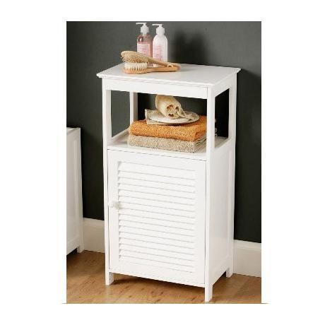 white wood single shutter door bathroom cabinet with shelf
