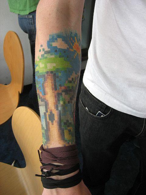 Pixel art tattoo. 8bit glory.