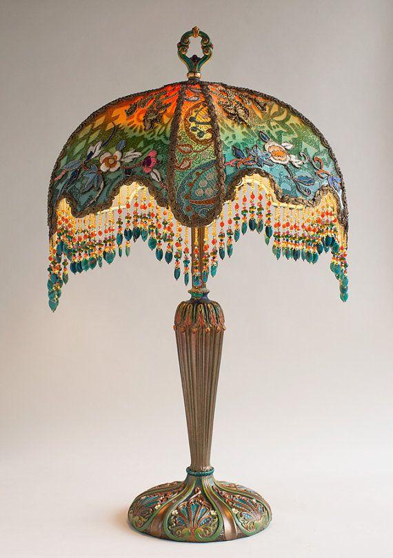 Boho Hippie Ombre Velvet Half Moon Victorian Lamp by
