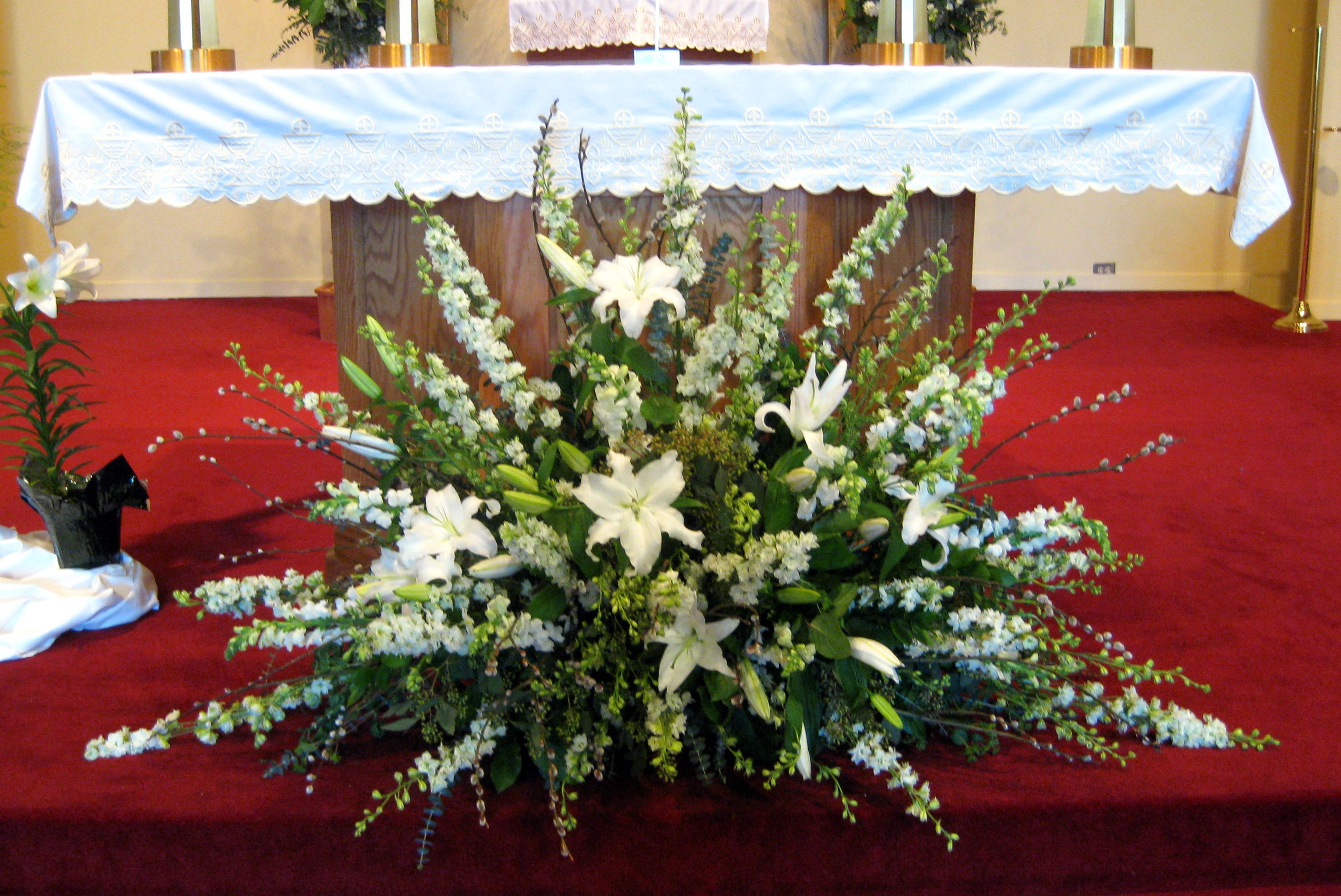 Arrangement Church Altar White 2 Wedding Flower Arrangements Church Church Flowers Altar Flowers
