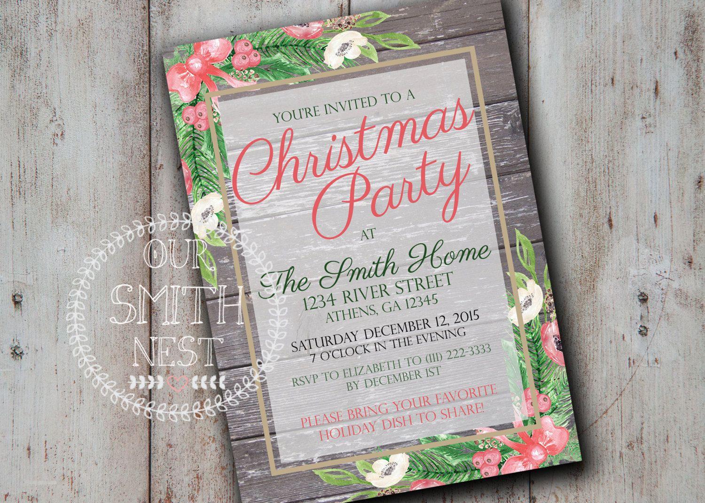 Rustic Christmas Party Invitation DIY PRINTABLE Customizable Digital ...