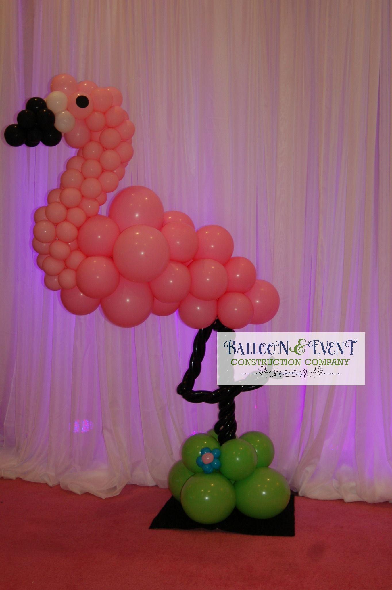 Flamingo balloon sculpture for a sweet 16