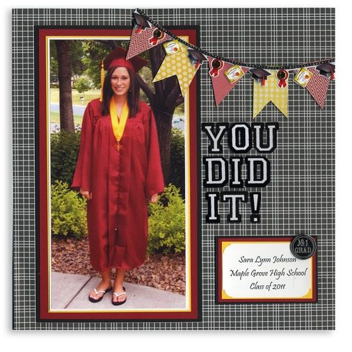 scrapbooking graduation cards | graduation banner scrapbook layout