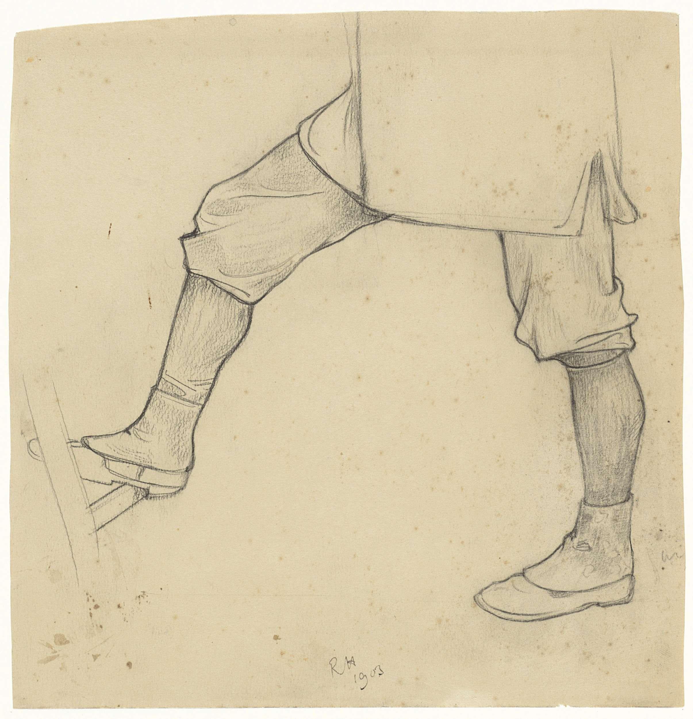 Richard Roland Holst   Benen van een op een ladder gaande man, Richard Roland Holst, 1903  