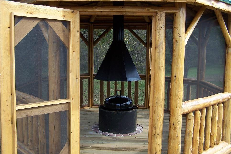 Log Gazebo Styled Gazebeque Fire Pit With Grill Gazebo