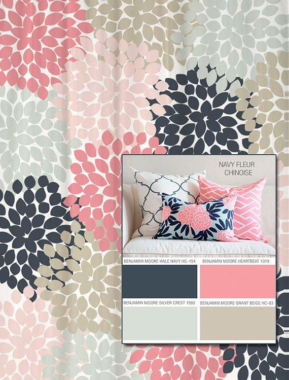 Shower Curtain In Navy, Coral Pink, Aqua, Gray Floral Standard And Extra  Long Lengths 88 Letu0027s Make One In Your Colors!