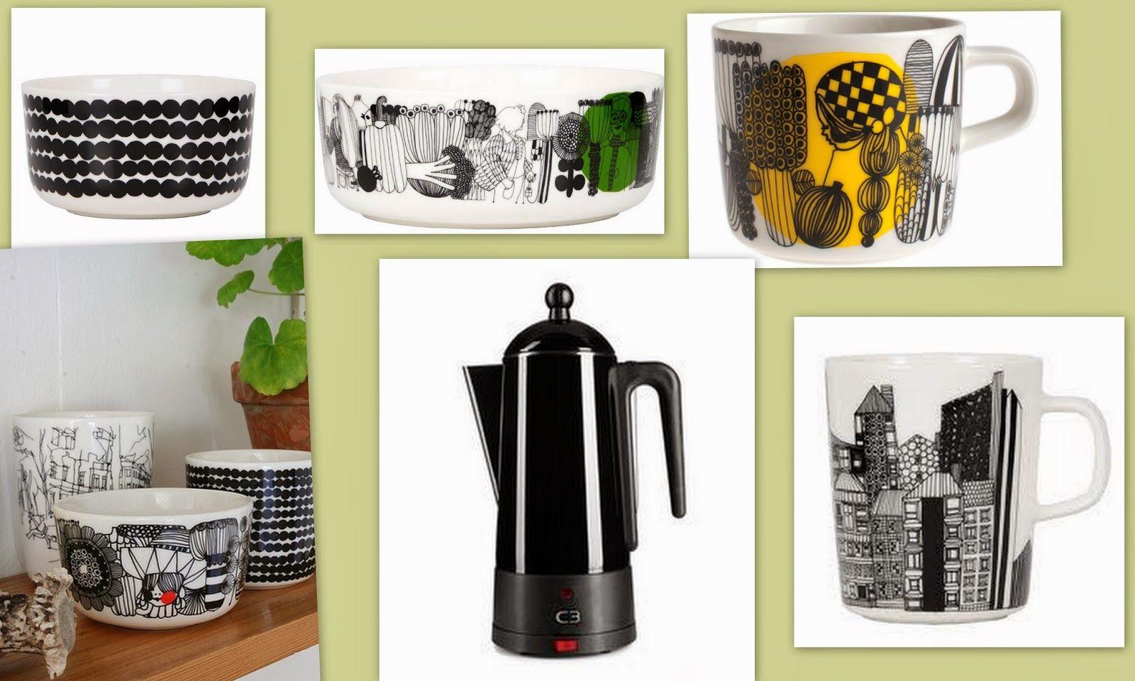 Keittiö astiat ; Marimekko siirtolapuutarhaa ja räsymattoa sekä perkolaattorikeitin mustana <3