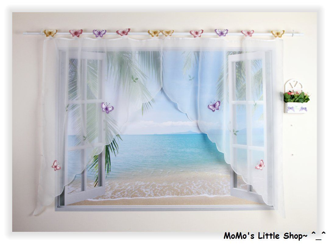 Beautiful Butterfly Patterned Cafe/Kitchen/Restaurant Voile Net ...