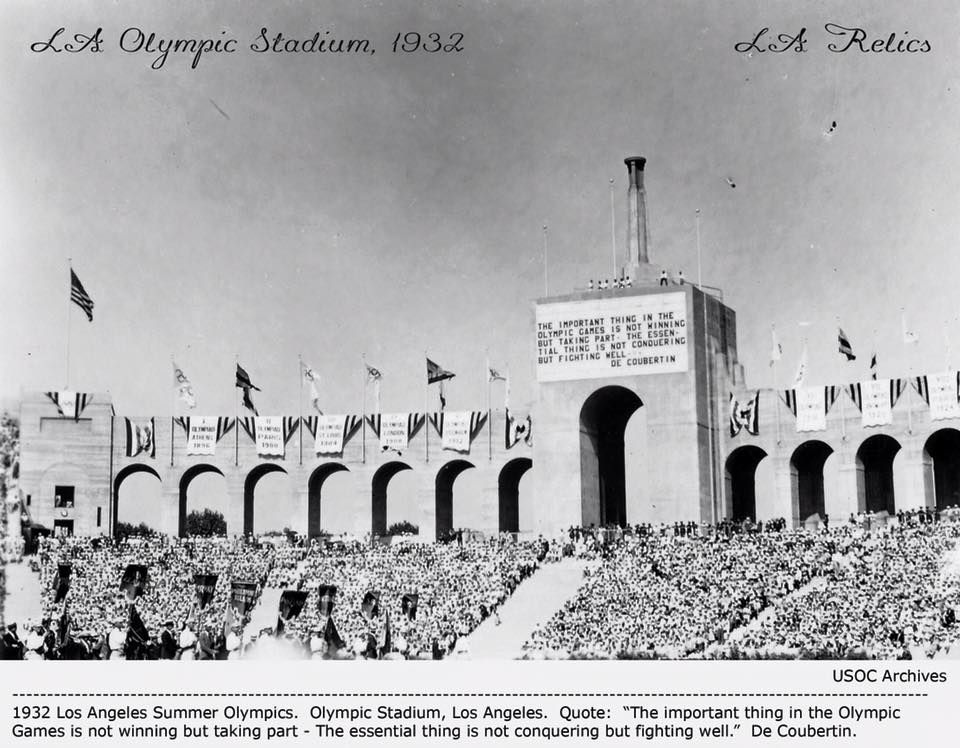 1932 Los Angeles Olympic Stadium Cauldron The Olympic Flame Is A Representation Of The Greek Mythology St Ancient Olympic Games Ancient Olympics Olympic Flame