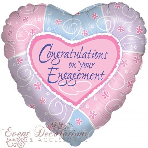 congratulations on your engagement multi colour heart foil balloon