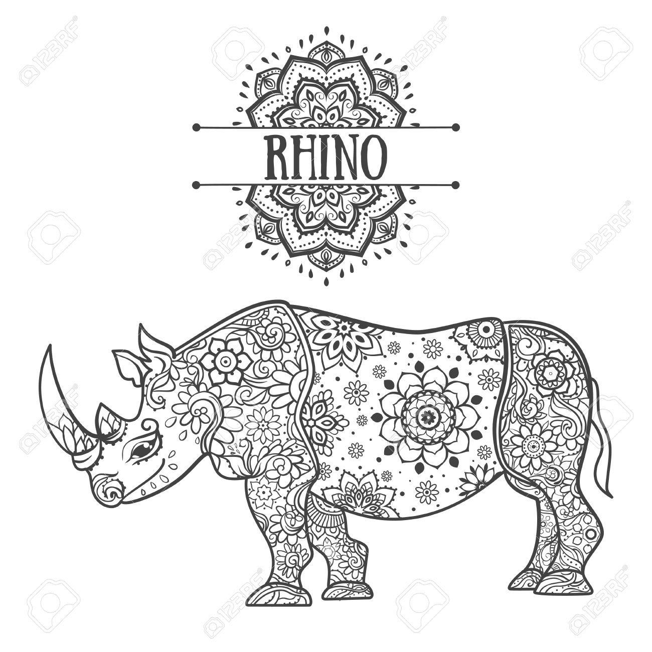 Pin Van Barbara Op Coloring Hippo Rhino