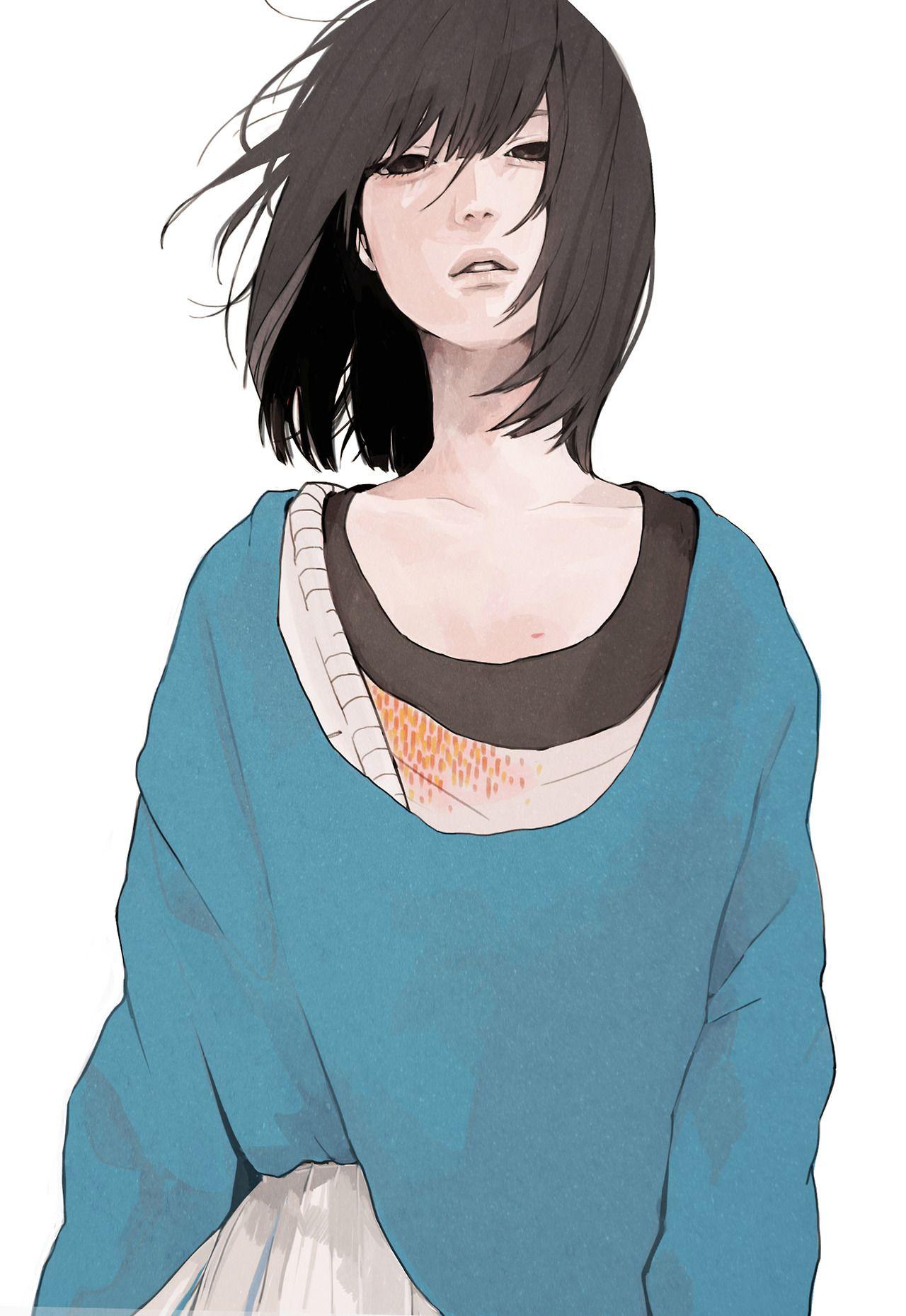 snnn illustration Short hair styles, Manga art
