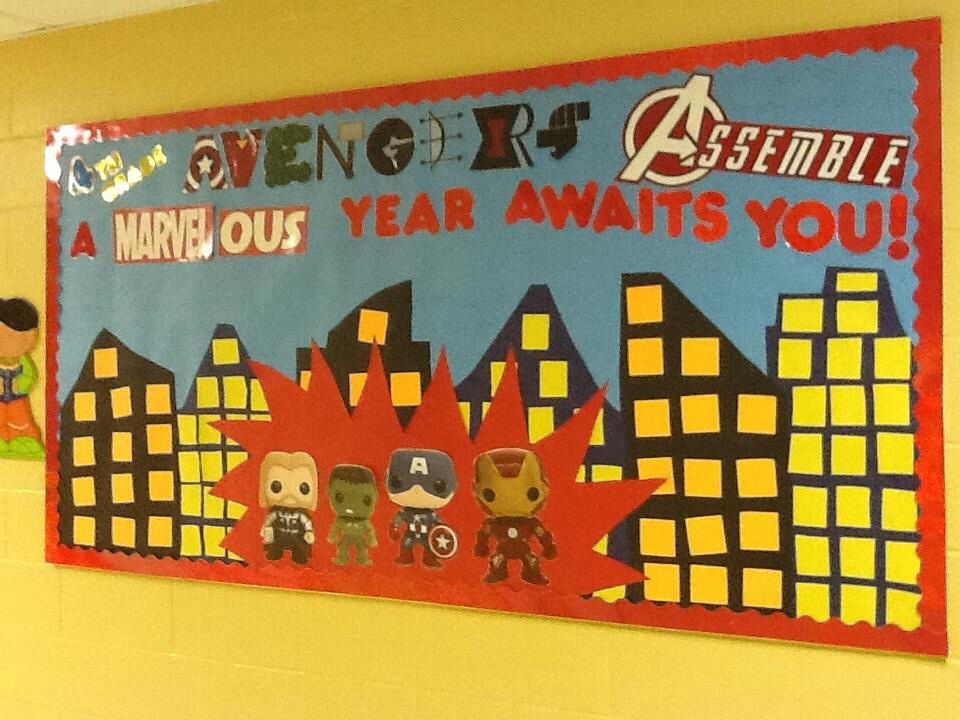 Marvel Classroom Decor ~ Back to school avengers bulletin board th grade