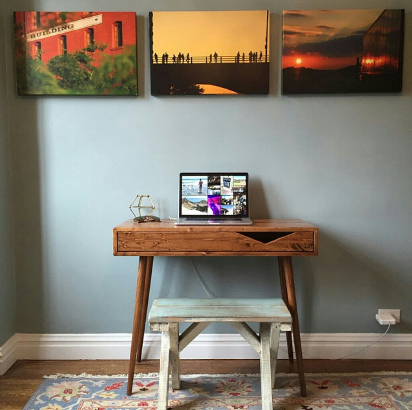 Mid century tiny desk with drawer solid wood made to order by