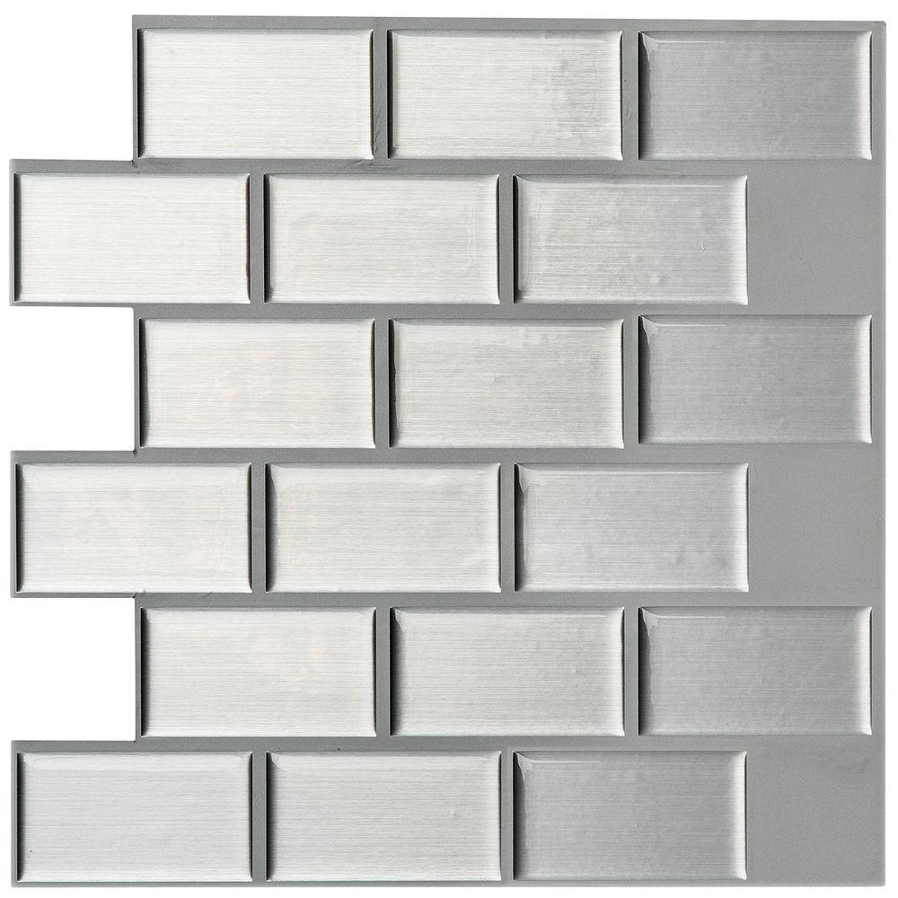 Instant Mosaic 12 In X 12 In Peel And Stick Mosaic Decorative Wall Tile In Silver Metallic 6 Pack 07110 The Home Depot Decorative Wall Tiles Instant Mosaic Wall Tiles
