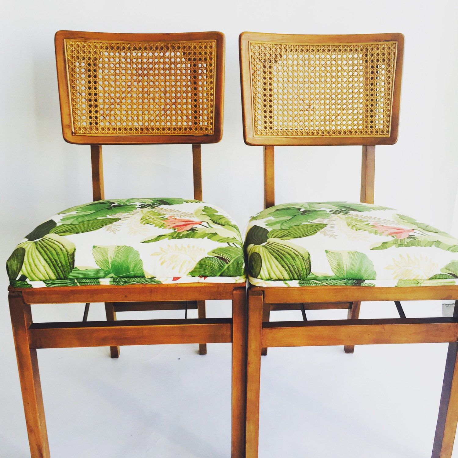 Vintage Hawaiian upholstered Stakmore folding chairs by