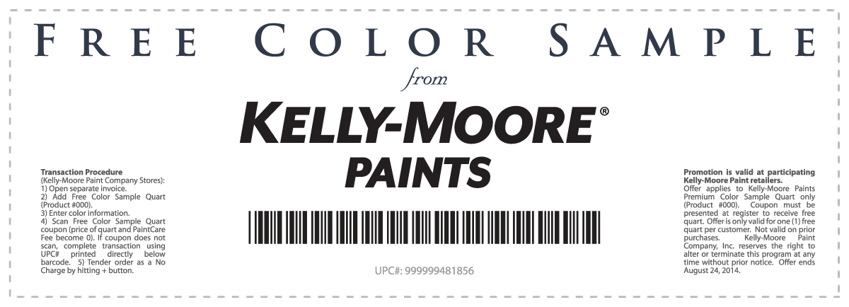 Pinned August Th Free Quart Of Paint At KellyMoore Stores - Invoice making software free online fabric store coupon
