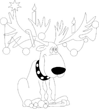 Christmas Lights On Reindeer Antlers Coloring Page Coloring Pages Christmas Lights Christmas Colors