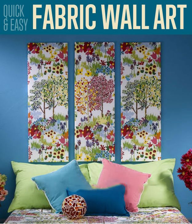 wonderful Fabric Wall Decor Part - 2: Make a quick and easy home decor with canvas and some fabric. This fabric  wall art is as easy as 1-2-3. If youu0027re looking for a cheap home decor,  this is it