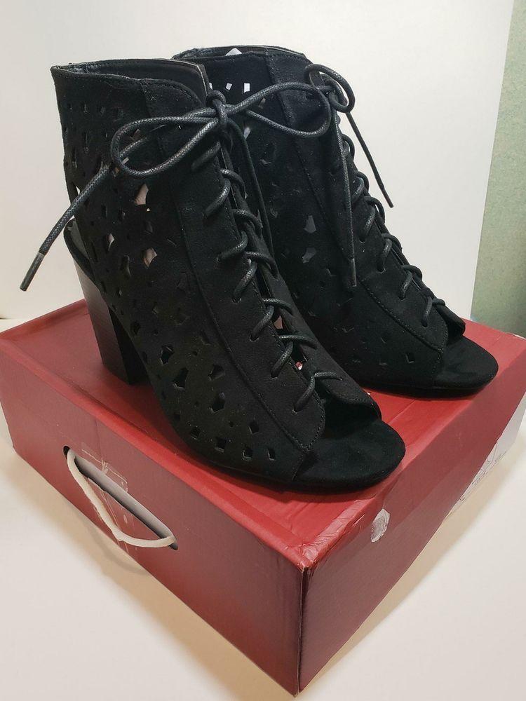 57e49232c2b Nature breeze Mata Women s Peep Toe Adjustable Strap Booties - Black -  Size  10