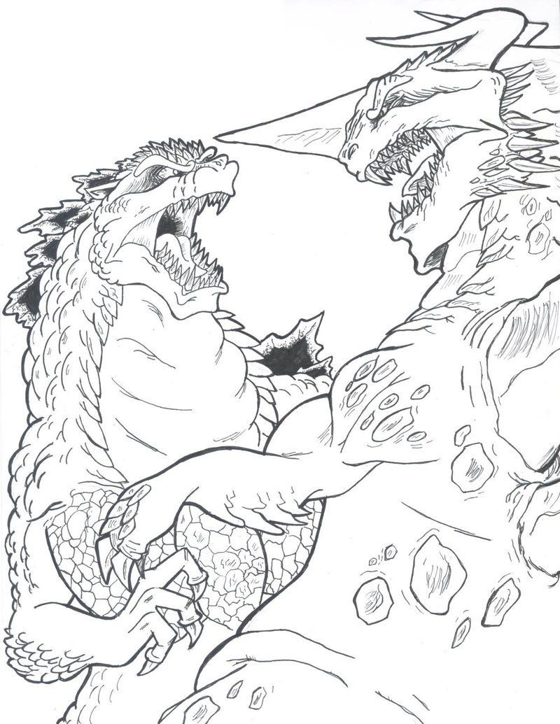 Godzilla vs Bagan by ChaosGhidorah | LineArt: Monsters & Demons ...