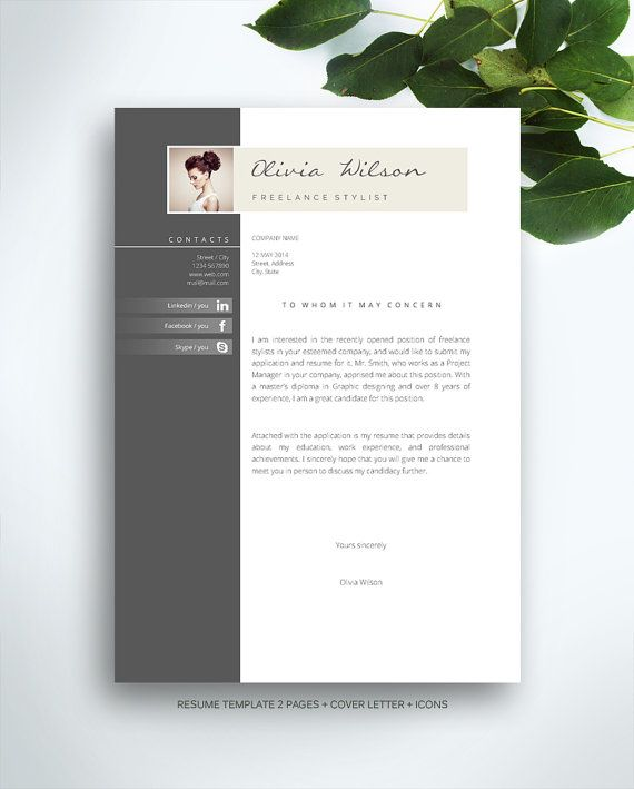 Resume Template 3 page / CV Template + Cover Letter / Instant - resume template for pages