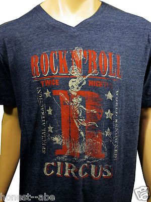 e0de5130 New Lucky Brand Rock N Roll Circus Distressed Graphic s s V Neck Tee Shirt  XXL | eBay