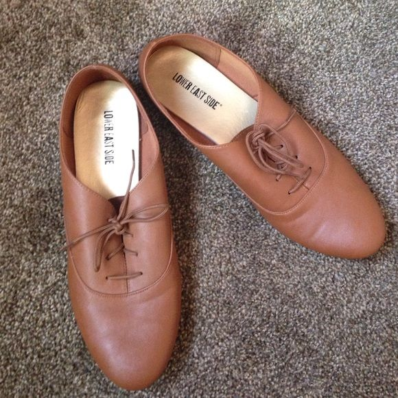 Women's Oxford Shoes Brown, flats with laces for women. Wore