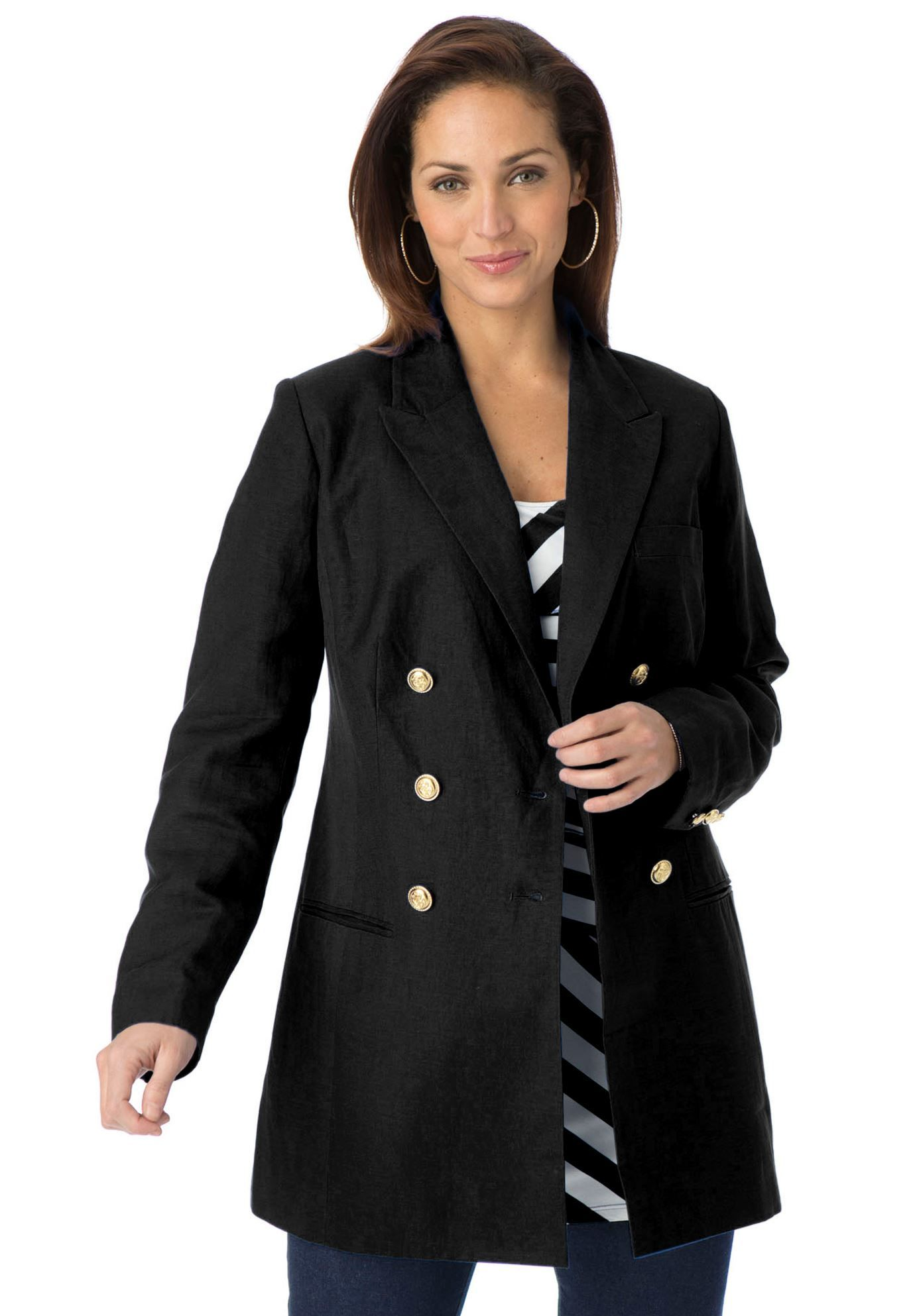 Plus Size Double Breasted Blazer