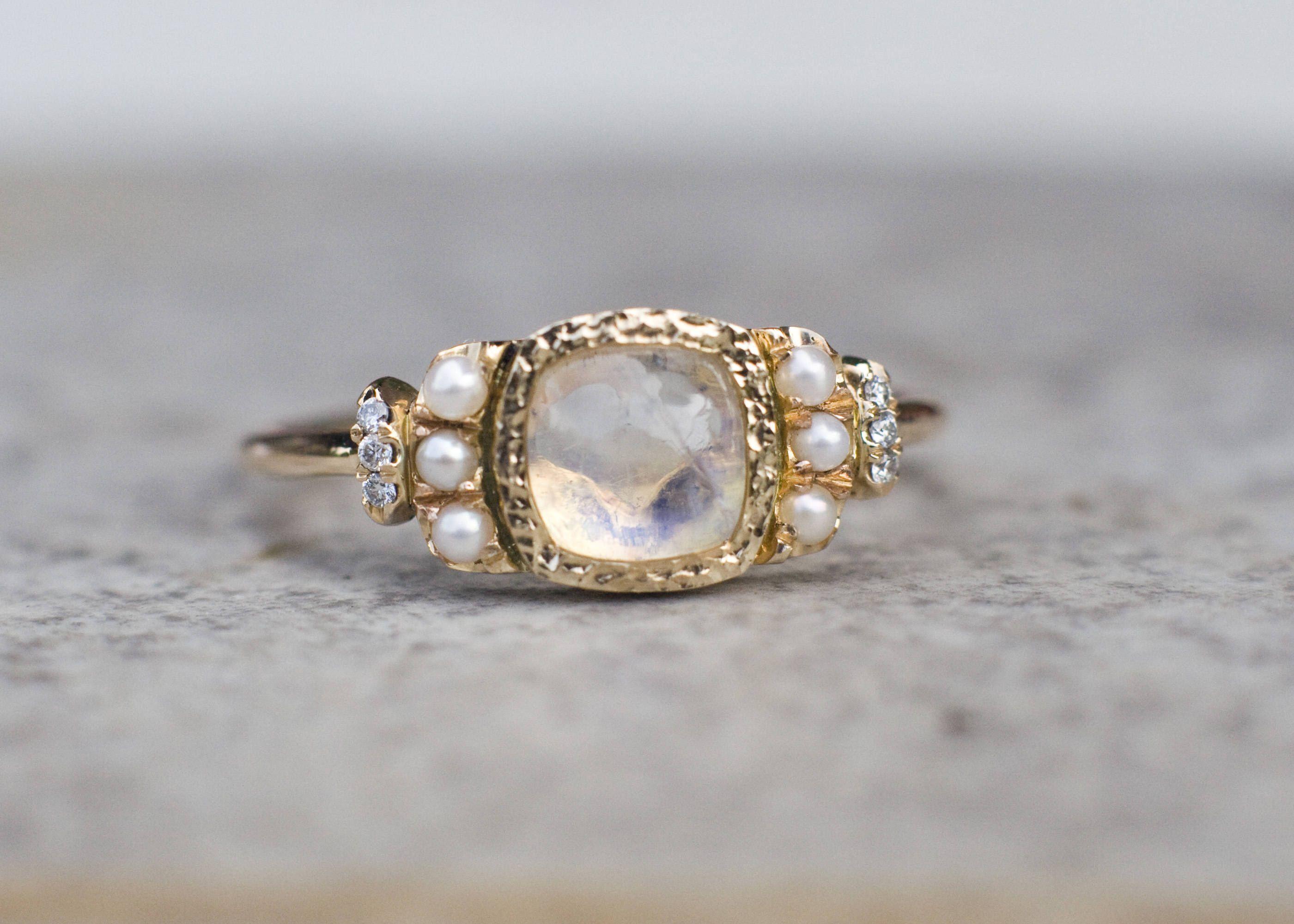 Moonstone Engagement Ring, Diamond Ring, Multistone Ring