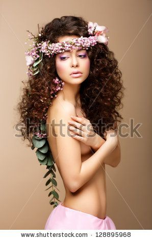 Naked lady with curly long hair pics