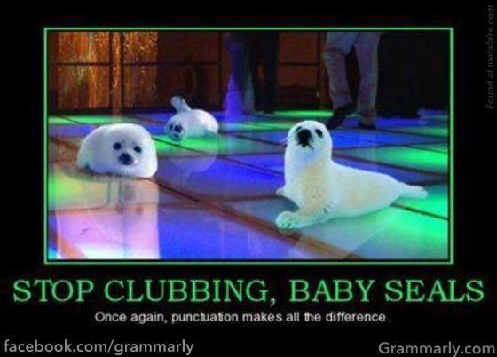 Funny Punctuation Grammar Jokes Grammar Nerd Baby Seal