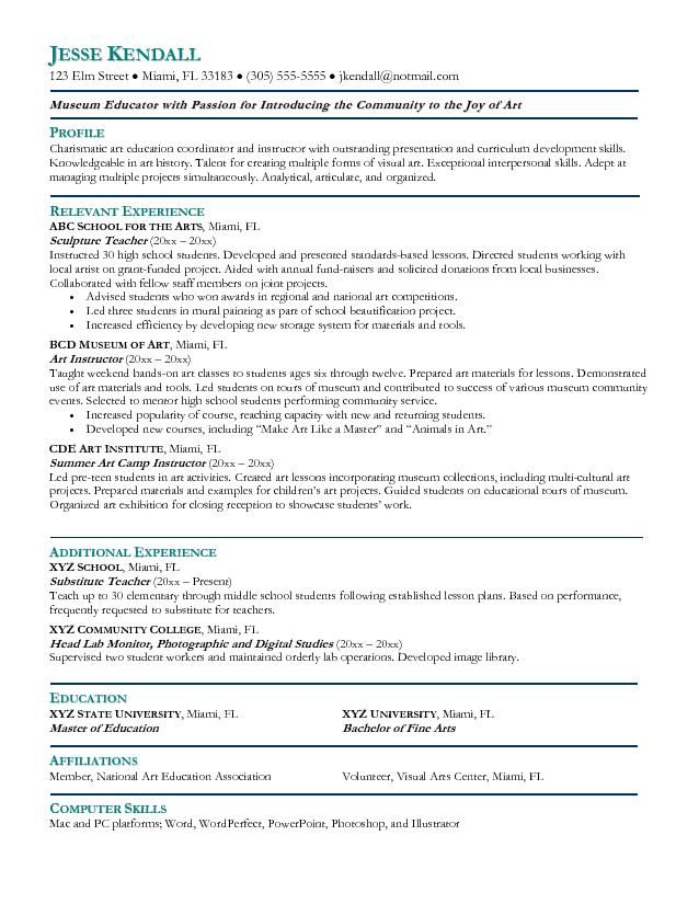 Example Art Teacher Resume - Free Sample Resume Pinterest - education resume template word