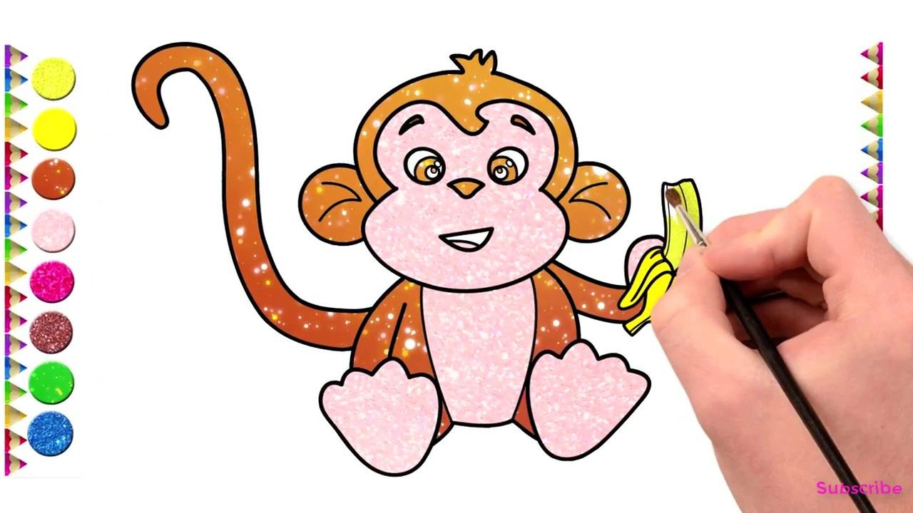 How To Draw A Baby MONKEY Eating Banana | Monkey Drawing ...