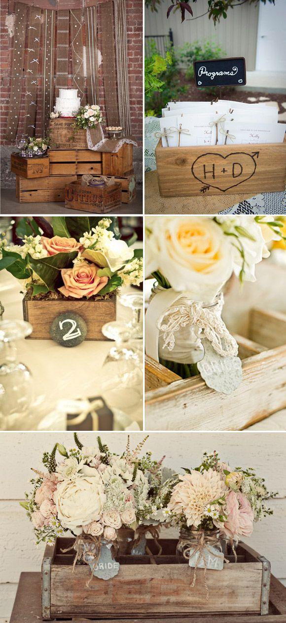 Decoraci n vintage para bodas cajas de madera wedding for Decoracion de cajas