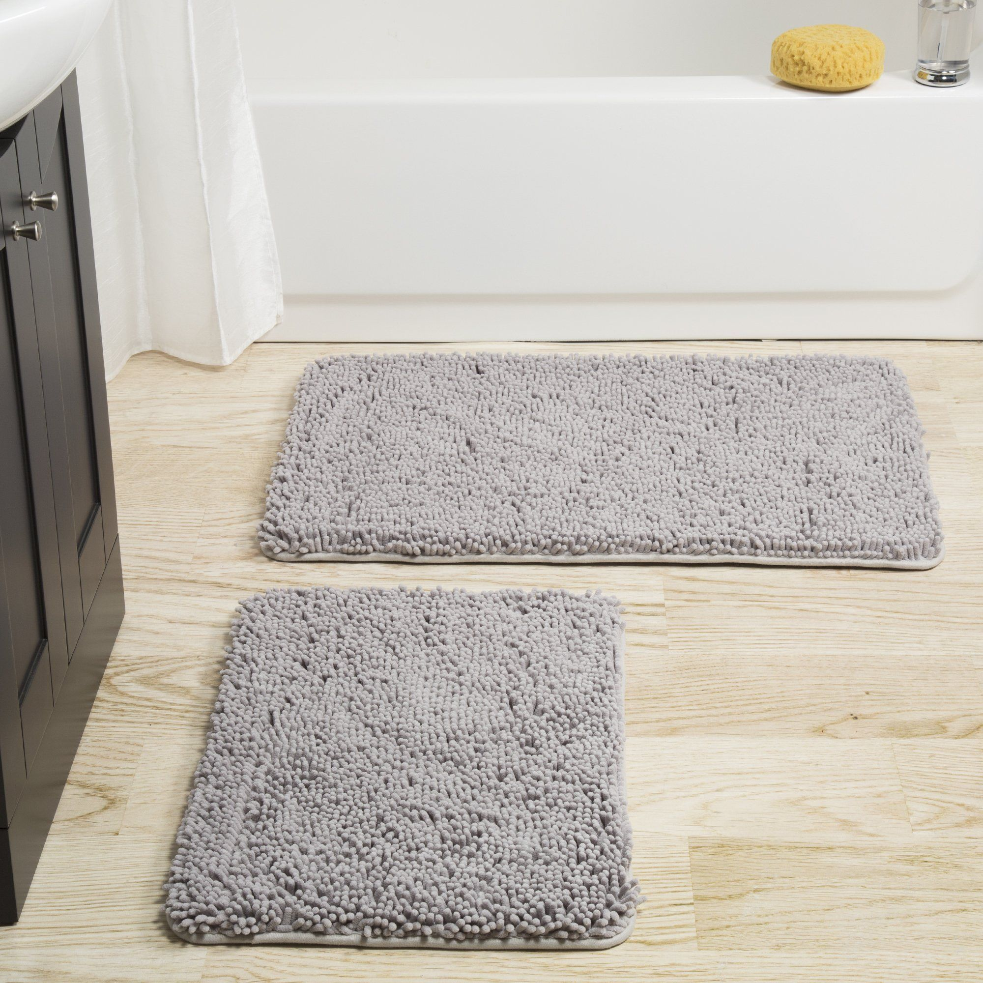 Windsor Home 2 Piece Memory Foam Shag Bath Mat Shag Bath Mat
