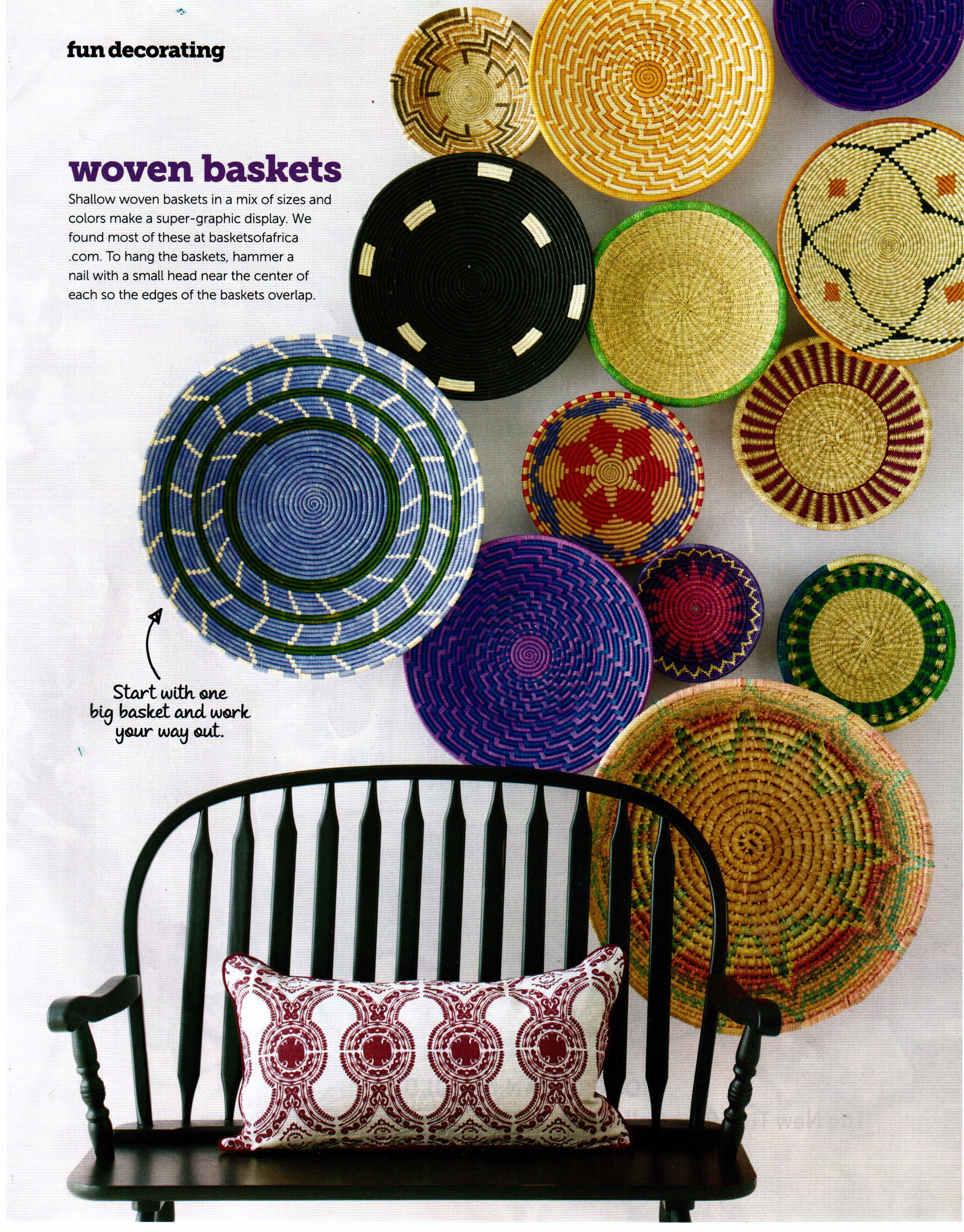 Adore These African Baskets Hung Overlaping On The Wall Basketsofafrica Com Basket Wall Decor Diy Wall Decor Baskets On Wall