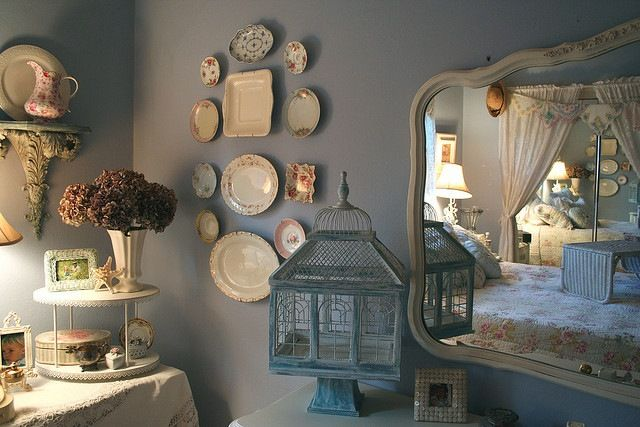 dresser mirror hung on the wall?