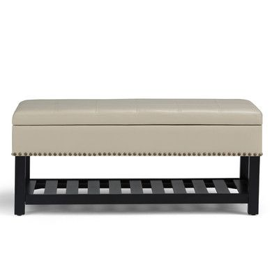Simpli Home Radley Leather Storage Entryway Bench Upholstery Satin Cream Leather Storage Bench Storage Ottoman