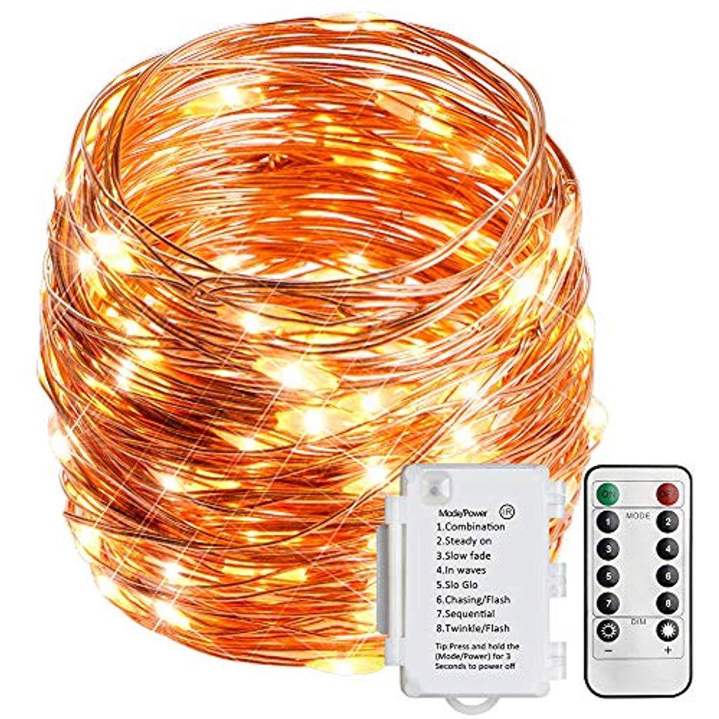 Wasserdichte Batterie Box Kupferdraht Lichterkette 100 Lichter Mit Fernbedienung 1er Beleuchtung Leuchtmittel Led Lampen Beleuchtung Lichterkette Led Licht