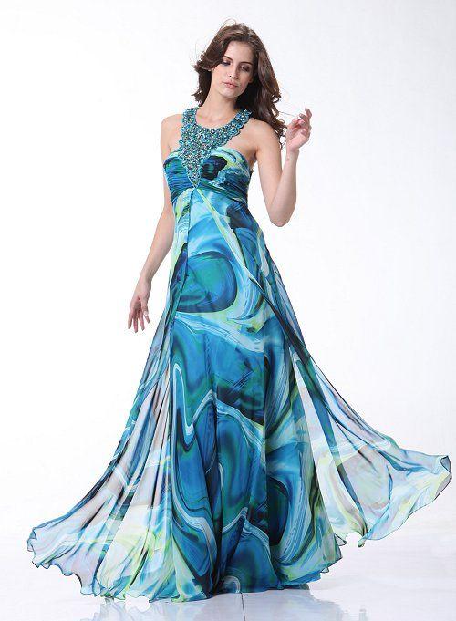 Greek Style Prom Dress Beaded Halter Strap Sea Water Swirl Print ...