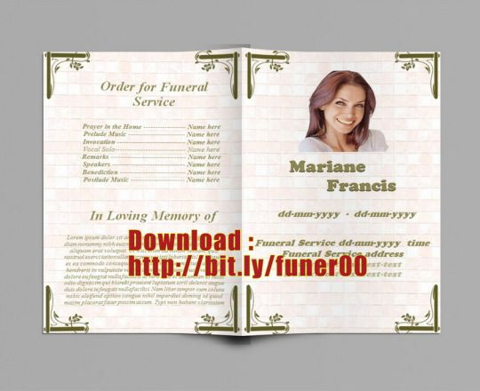 Fri Begravning Program Mall för Word för Att Ladda Ner Funeral - free obituary program template