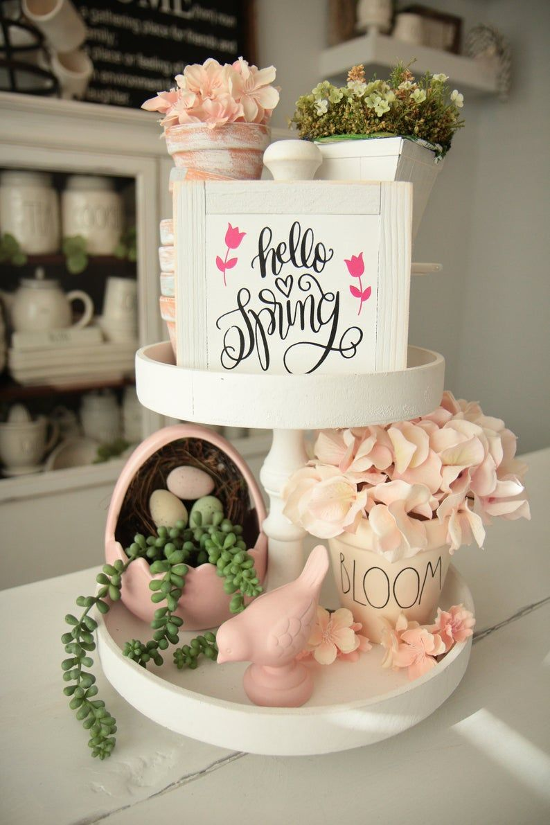 "Mini Spring Signs-Hello Spring-Rae Dunn Inspired-Small Signs-Tier Tray Sign-Tiered Tray-6""x 6""-Easter-Bloom-White Frame-Flower-Happy Spring"