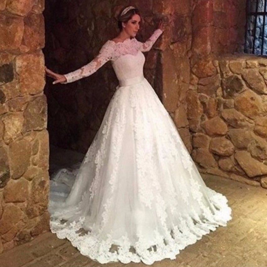 Lace muslim wedding dress long sleeve boat neck button for Lace button back wedding dress