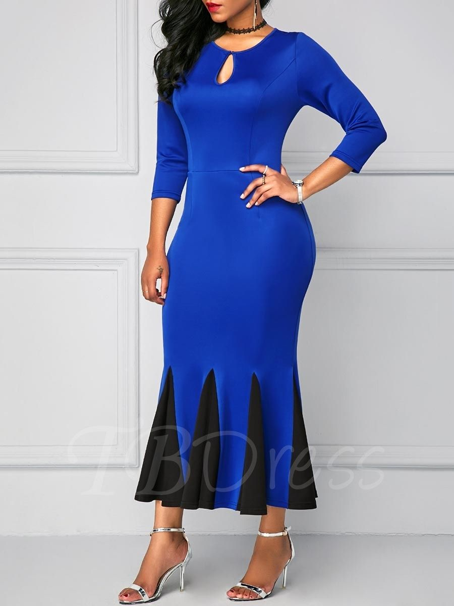 3 4 Sleeve Black And Blue Fishtail Women S Maxi Dress Womens Maxi Dresses Dresses Maxi Dress [ 1200 x 900 Pixel ]